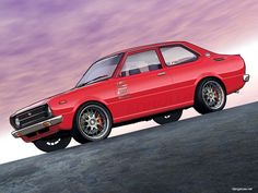 """Vexel: Vector-Pixel hybrid By suggestion, some more """"old school"""" import tuner art. This is a cult-classic favorite - the mid-seventies Toyota Corolla Type KE. I just love red cars at sunset and thi..."""