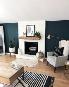 Walls Colors for Living Room Home Decor Wall Decorations Living Room Colors orange Teal Living Rooms, Accent Walls In Living Room, Living Room Green, Living Room With Fireplace, Living Room Colors, New Living Room, Living Room Designs, Living Room Decor, Blue Accent Walls