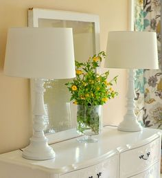 brass lamps painted white. DIY