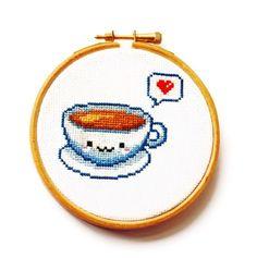 Kawaii Tea Cup Cross Stitch Hoop by RatherUnseamly on Etsy, £25.00- punto cruz