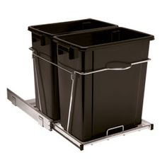 """$59 Double Undercounter Pull-Out Can Our Double Undercounter Pull-Out Can offers two heavy-duty 17 quart bins for separating and sorting trash and recyclables. The commercial ball bearing track provides a fluid, quiet pull-out motion and the integrated handle on the frame makes it easy to pull out. Requires 13-1/2"""" wide cabinet opening Easy to install with the included hardware"""