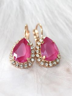 Pink Earrings, Peony Pink Bridal Earrings, Fuchsia Bridal Earrings,Bridesmaids Earrings, Drop Earrings, Gift For Her, Swarovski Earrings  ♥IF YOU WANT THE BEST CHOSE THE ORIGINAL ♥ Top Quality Materials ♥ Excellent Customer Service ♥ Swarovski Authentications Tags ♥ Petite Delights is an Official SWAROVSKI® Branding Partner Official Swarovski Elements® Partner Made with real genuine high quality Austrian Swarovski ©Crystal . Our brand is legally licensed & authorized By Swarovski Company...