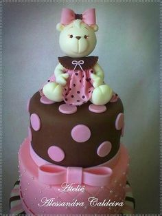 .Teddy Bear, Pink & Brown Polka Dots