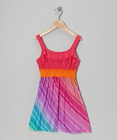 Take a look at this Rainbow Stripe Dress  - Girls by Zunie & Pinky on #zulily today!