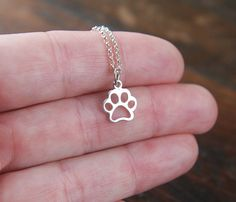 Paw print charm necklace in sterling silver by jersey608jewelry