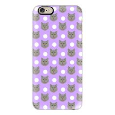 British Shorthair - polka dotted pattern grey cat in pastel lavender... ($40) ❤ liked on Polyvore featuring accessories, tech accessories, iphone case, polka dot iphone case, cat iphone case, iphone cover case, iphone cases and pattern iphone case