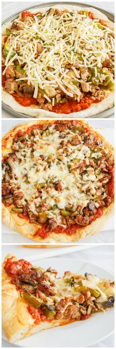 Sausage Pizza with Onions, Green Peppers, and Bacon!