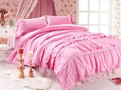 $ 99.99 New Arrival Beautiful All Pink Floral Borders  Bed-skirt 4 Piece Bedding Sets