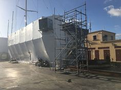 35m #Wally #Yacht Nikata under one of @TechnoCraftsl state-of-the-art protective refit  containments. #technocraft #superyachtrefitpalma #palma #yachtcontainment