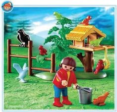 Playmobil bird feeder is too cute. Also, extra points for including a crow.