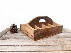 Vintage Wood Caddy - Divided Wooden Box - Rustic Wood Box - Distressed Desk Organizer - Primitive Home Decor - Display Box