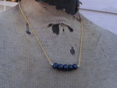 sapphire and gold plated necklace