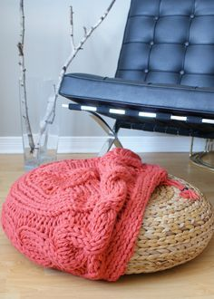 DIY Knitting PATTERN Cable Knit Footstool by ErinBlacksDesigns