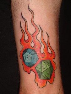 A d20 and a d12 tattoo. (Aka a dodecahedron and a icosahedron - of awesomness and flames)
