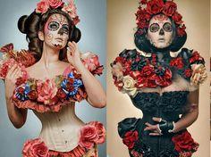 art. flower, black, day of the dead, flowers, girl, pink - inspiring picture on Favim.com