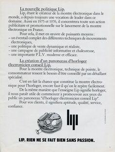 1975 Lip Horloger Electronicien Conseil Lip French Ad Advert Publicite Montres | eBay