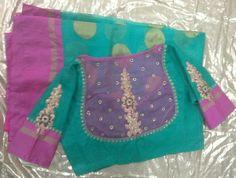Kota saree with back high neck with butti 7702919644 Simple Blouse Designs, Saree Blouse Neck Designs, Choli Designs, Bridal Blouse Designs, Kurta Designs, Designer Blouse Patterns, Indian Wear, Indian Blouse, Indian Sarees