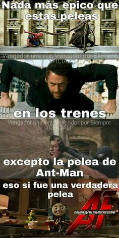 """""""Nothing is more epic than these fights on trains except Ant-man that was a real fight"""" Memes Marvel, Avengers Memes, Marvel Funny, Marvel Comic Universe, Marvel Dc Comics, Mundo Meme, Best Memes, Funny Memes, Mundo Marvel"""