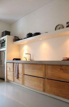 The Best Interior Design Of A Wooden Kitchen 44 Concrete Kitchen, Wooden Kitchen, Kitchen Colour Combination, Wooden Vanity, Best Interior Design, Interior Modern, Kitchen Layout, Kitchen Interior, Modern Bathroom