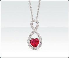 Ruby Heart Infinity Pendant with Diamonds