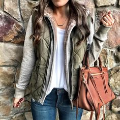 warm cozy layers outfit, faux fur lined fleece hoodie, quilted excursion vest.
