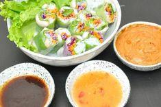 Vietnamesiska vårrullar tre dippsåser