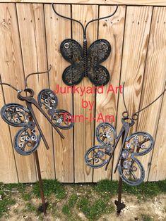 Junkyard Art by Tam-I-Am.  These butterflies are one of my favorite things to make. Repurposed scrap metal art.