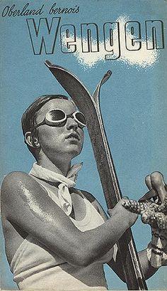 c. 1936 vintage skiing brochure - Wengen