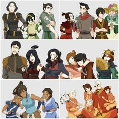 Avatar the Last Airbender and Legend of Korra.  I thought at first they were grouped by powers but then i realized that i was wrong because Sokka is not a water bender!