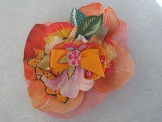 Handmade brooch in soft tissue, orange-peach. beatrice.cianfrui@facebook.com