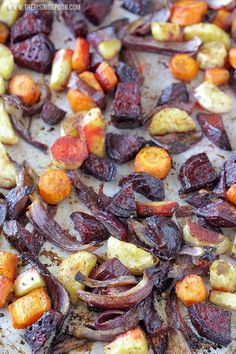An easy roasted root vegetables recipe with beets, parsnips, carrots & onions tossed in cooking oil, seasonings, and balsamic vinegar then cooked until tender and slightly caramelized. This method makes the vegetables taste amazing with hardly any work!