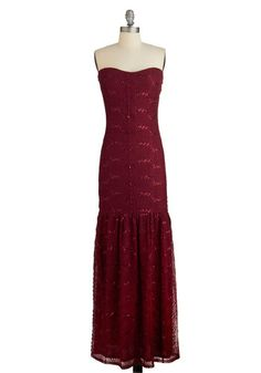 Quintessence of Chic Dress. For a formal look thats the pinnacle of poise and sophistication, slip into this form-fitting burgundy gown. #red #prom #modcloth