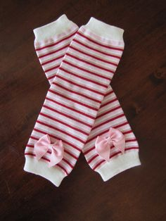Pink Light Pink Red and Ivory Striped Legwarmers by CuteyPatoot, $9.50