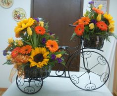floral arrangements for weddings orange sunflowers | Photo Gallery - Photo of Bicycle Arrangement