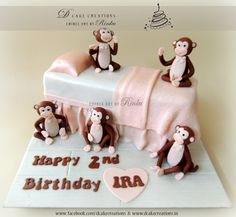 """""""Five little monkeys jumping on the bed. One fell off and bumped his head""""... popular #NurseryRhyme theme #BirthdayCake."""