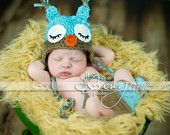 Sleepy Owl Baby Hat & Matching Boots Set blue and by homeschoolma