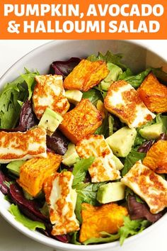 pumpkin, haloumi and avocado salad Gone are the days of bland and boring salads! This pumpkin, halloumi and avocado salad makes for a perfect weeknight dinner - minimal effort, maximum taste. Avocado Dessert, Avocado Salad Recipes, Salad Recipes For Dinner, Healthy Salad Recipes, Vegetarian Recipes, Cooking Recipes, Sausage Recipes, Recipes For Salads, Halloumi Salad Recipes