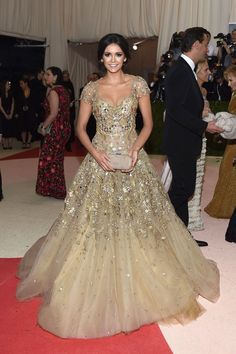 Nina Dobrev in Marchesa at the Met Gala 2016 [Photo: Michael Buckner]