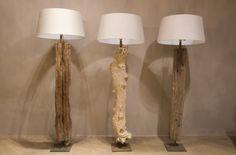 landelijke verlichting2 Sfeervolle boomstam vloerlampen