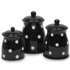 .Amazon.com: Terramoto Ceramic Polka Dots Canister Set, Black, 3-Piece: Kitchen  Dining :)