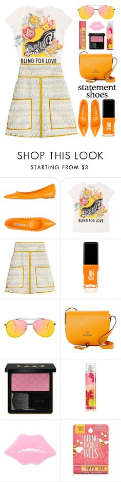 """""""Spring Brights"""" by stavrolga ❤ liked on Polyvore featuring Roberto Festa, Gucci, See by Chloé, JINsoon, Topshop, Mario Valentino and Burt's Bees"""