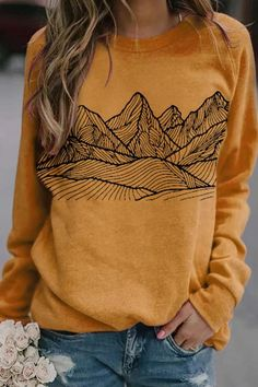 Hand Painting Mountain Peak Print Landscape Vintage Sweatshirt Graphic Pattern, Halloween Sweatshirt, Online Shopping Clothes, Online Clothes, Women's Clothes, Casual Tops, Types Of Sleeves, Fashion Outfits, Fashion Clothes