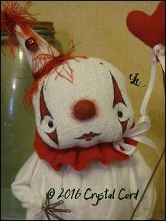 Valentine Clown standing winter Doll white heart love by emsprims