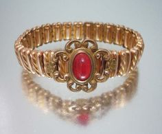 Art Deco Expansion Bracelet Stretch Red by ThePeacockFeather