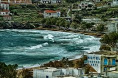 GREECE, Large waves at the Beach, BATSI, ANDROS ISLAND Andros Greece, Sailing Greece, Large Waves, Greek Islands, First Photo, Travel Around, First World, Magic, Mansions