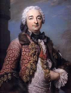 Portrait of Honore Armand, Duke of Villars by by Maurice Quentin de La Tour