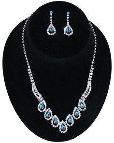 #80713-JMM/Rhinestone Necklace Earring Set-Clear/L.Sapp