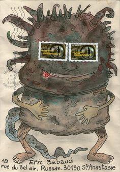 Magnifique courrier de Philippe Charron qui, malgré son affranchissement généreux, a mis 15 jours pour arriver jusque dans ma boite ! à croire qu'avec son air débonnaire, ce monstre aura quand même réussi à effrayer les préposés au service postal... qui...