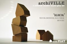 archiVILLE architectural toy / set of 6 wooden house blocks with detailed guidelines for various educational activities / by archiPLAY