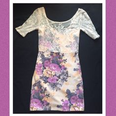 Intimately by Free People Floral Print Dress This dress has gorgeous lace detail. Stretchy.  Preloved but in perfect condition. Any other questions just ask! No trades. Free People Dresses Mini
